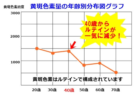 黄斑色素量の年齢別分布図グラフ